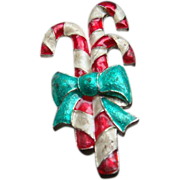 SALE Red & White Enameled Candy Cane Christmas Pin Brooch With Green Bow