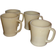 SALE Set of 4 Heavy Flat Bottom Shaving Mugs Ivory Fire King Glass