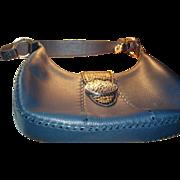 SALE Authentic Brighton Retired Franki Denim Navy Leather MINT Mock Croc Handbag, Box, Dustbag