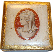 SOLD Small Florentine Cameo Trinket Jewel Box Gold Gilt Made in Italy 2 7/8""