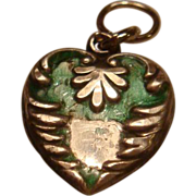 SALE Very Old Sterling Silver Enamel Puffy Heart Charm Engraved LG