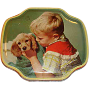 SALE Vintage Tin Little Boy and His Dog Horner Filled With Buttons