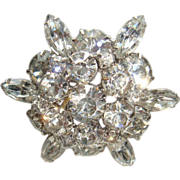SALE Round Brilliant and Marquise Cut Rhinestone Dimensional Brooch Unsigned Designer Quality