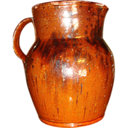 SALE Early 19th Century Redware Pitcher Jug Manganese Decoration 7 Inches