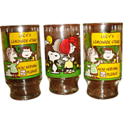 SALE Set of 3 Peanuts Gang Glasses Lucy's Lemonade Stand, Snoopy, Charlie Brown Lucy Fly Kite
