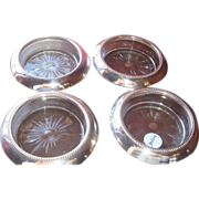 SALE Set(s) of 4 Frank Whiting Bernard Instone Beaded Sterling and Crystal Glass Coasters
