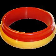 SALE Orbit Style Bakelite Laminated Bracelet Bit 'O Honey and Red