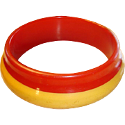 SALE Orbit Style Bakelite Laminated Bracelet Bit Of Honey and Red