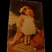 SOLD Ise Biggest By Arthur Elsley St. Bernard and Little Girl Postcard Haussner's Restaurant M