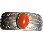 SALE Sterling Silver Native American Signed Bracelet Bezel Set Carnelian MKM Heavy, Substantia
