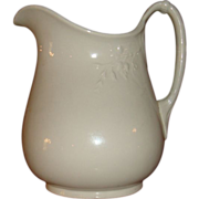 SALE Early Large White Ironstone China Pitcher Flower and Vine Rope Handle 9 1/2 - 10 Inches