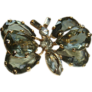 SALE Large Glass Prong Set Butterfly Brooch Faceted Stones Marquise, Pear Shaped, Baguettes, R