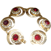 SALE Vintage Bracelet 6 Crescent or Teardrop Shaped Settings Ruby Red & Clear Rhinestones