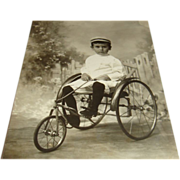 SALE Real Photo Picture Postcard Young Child on Antique Tricycle
