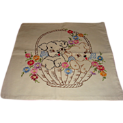 SALE Vintage 1950's Hand Embroidered Pillow Cover Two Puppies in a Basket of Flowers Crisp and