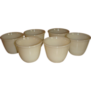 SALE Set of 6 Fire King Ivory Beaded Edge Ramekin Custard Cups Block Letters Old Glass Mark