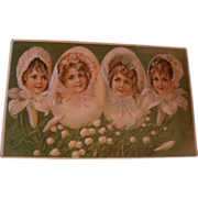 SOLD Early 1900's German Postcard Little Girls in Easter Bonnets, Lily of Valley, Embossed