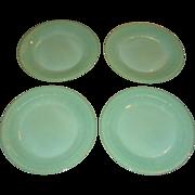 SOLD Set of 4 Fire King Jadite Jane Ray Heavy Dinner Plates
