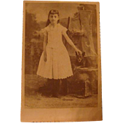 SOLD Early Cabinet Card Photo Little Girl and Her Chihuahua Dog