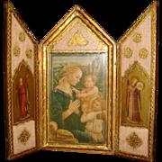 SALE Italian Florentine Triptych F. Lippi Madonna and Child Virgin Mary, Children, Worshiping