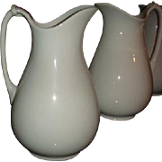 SALE Antique Meakin English White Ironstone Tall Rope Handle Pitcher Ewer