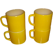 SALE Set of 4 Bright Yellow Stackable Mugs Federal Kitchen Collectible