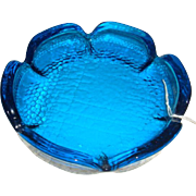 SALE Electric Blue Daisy Shaped Pebble Glass Ashtray