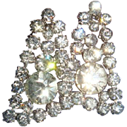SALE Vintage Brilliant Clear Crystal Rhinestone Dangle Earrings Designer Quality Bridal