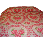 SOLD Gorgeous Cotton Chenille Bedspread Hearts and Flowers Generous Size