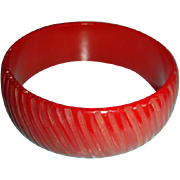 SALE Carved Bakelite Bangle Bracelet Translucent True Red