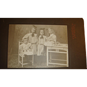 SALE Early 1900's Studio Matted Photograph 4 Siblings Children Bows, Curls, High Top Shoes