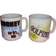 SALE 2 Vintage Sports Mugs Golfing and Hockey Glasbake Kitchen Collectibles