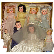 SALE 1946 Facsimile of Complete Wedding Party Dolls Bride, Groom, Bridesmaids, Flower Girl, Ri