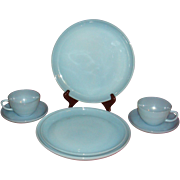 SALE 7 Pieces Fire King Turquoise Dinnerware Plates, Cups, Saucers, Salvers