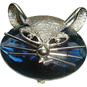 SALE Signed Cool Cat Head Brooch With Large Faceted Stone and Silvertone Features