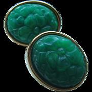 SALE Vintage Oval Faux Jade Pierced Earrings