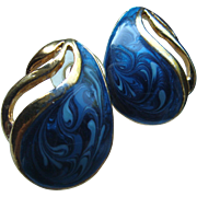 SALE Vintage Pierced Earrings Swirled Shades of Blue Enameled Paisley Shape