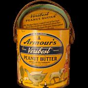 SALE 2 Lb. Armour's Veribest Peanut Butter Tin, Lid, Mother Goose Nursery Rhyme