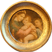 SALE Miniature Florentine Italy Gold Gesso Wood Framed Mary, Jesus, John the Baptist Raphael S