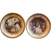 SALE 2 Italy Gold Gesso Wood Florentine Miniature Framed Prints Under Glass for French Fashion