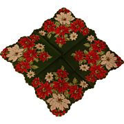 SALE Vintage Christmas Handkerchief Hankie Poinsettia Flowers Scarf