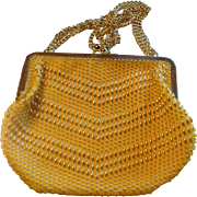 SALE Vintage Yellow and Gold Beaded Safram Purse Handbag Made in Hong Kong Adjustable Strap