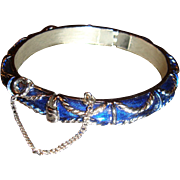 SALE Vintage Trifari Hinged Cobalt Blue Enameled Bracelet With Safety Chain Braided Design