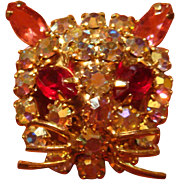 SALE Figural Kitty Cat Face Brooch Pin Prong Set Aurora Borealis Pink and Red Marquise ...