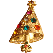 SALE Modern Christmas Tree Pin Glimmering Starlight Rhinestones Book Piece