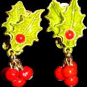 SALE Vintage Christmas Enameled Holly Leaves and Dangling Berries Clip on Earrings