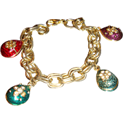 SALE 1960's Clunky Double Chain Link Charm Bracelet Enameled Charms