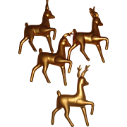 SALE 4 Vintage Hong Kong Hollow Gold Plastic Reindeer Ornaments for Christmas