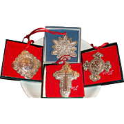 SOLD Set of 4 Boxed Towle Sterling Silver Dated Christmas Ornaments, Cross, Celtic, Pendants,
