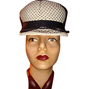 SALE Navy White Spectator Cloche Hat Patent Leather, Diamond Design Netting, Tightly Woven Str